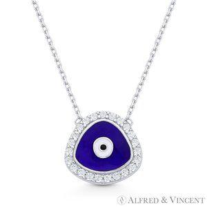 Evil Eye CZ Necklace.925 Sterling Silver w/Rhodium